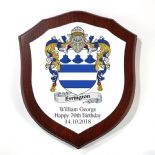 Family Crest Coat of Arms Mahogany Veneer 7 inch Shield Plaque PERSONALISED, ref FCMLP